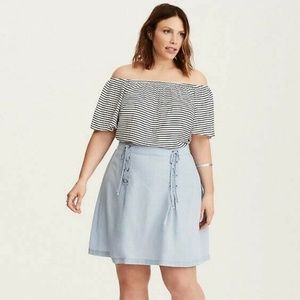 torrid Skirts - Torrid Chambray Tencel Denim Lace Up Skirt